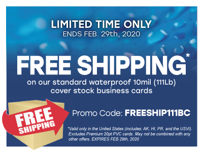FREE SHIPPING ON OUR STANDARD STOCK BUSINESS CARDS!